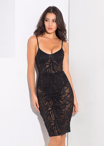 ELLA LACE EMBEDDED BODYCON DRESS