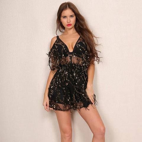 SEQUIN COLD SHOULDER PLAYSUIT