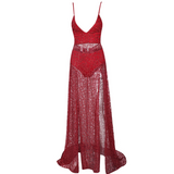 RED SPLIT SEQUIN MAXI DRESS