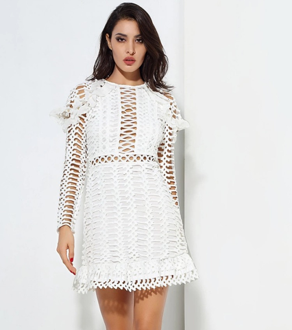 EMBROIDED LACE MINI DRESS