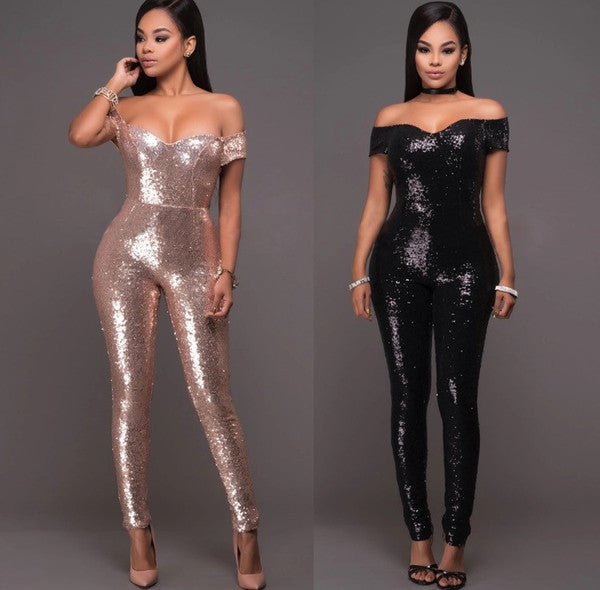 SLEEVELESS SEQUIN JUMPSUIT