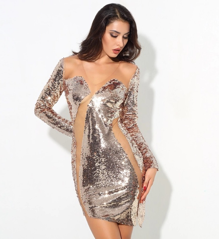 ROSE GOLD PATCHWORK SEQUIN DRESS