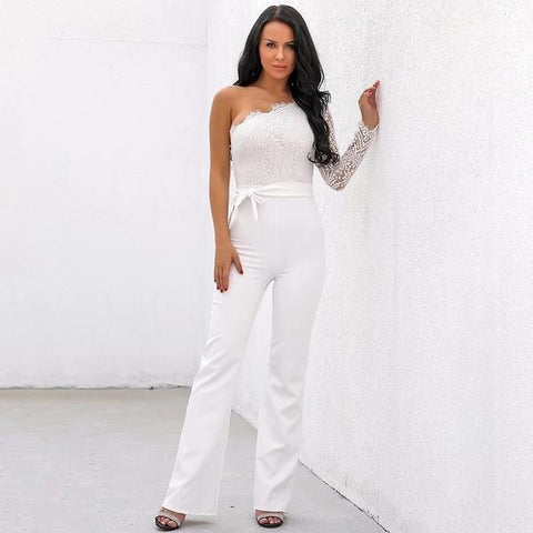 ONE SLEEVE LACE JUMPSUIT