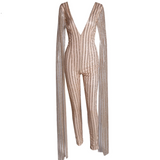 SEQUIN STRIPE JUMPSUIT