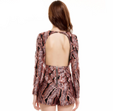 SEQUIN FEATHER PLAYSUIT
