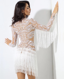 EMBROIDED FRINGED MINI DRESS