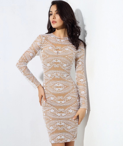 EMBROIDED BODYCON DRESS