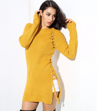 YELLOW SWEATER DRESS