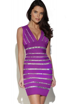 Crystals Embellished Purple Bandage Dress