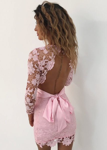 LACE TIE BACK MINI DRESS