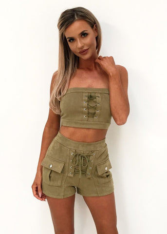 SUEDE SHORTS SET