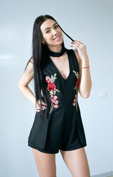 ROSE EMBROIDED CHOKER PLAYSUIT