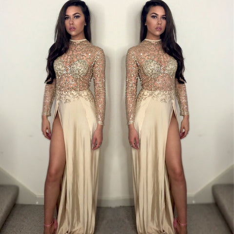 GOLD SEQUIN SLIT GOWN