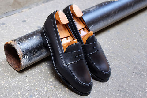 Carlos Santos Black Penny Loafers