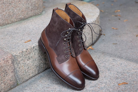 Carlos Santos Oak Calf and Mink Suede Field Boot