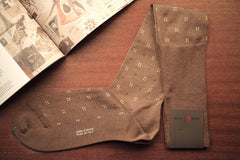 Sozzi Cotton Socks - Patterned Sand