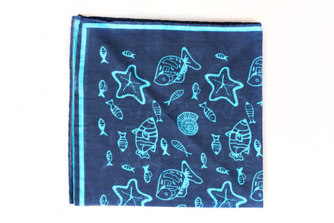 Sozzi Pocket Square - Cotton Sea Life Navy