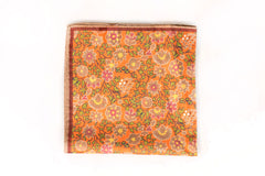 Sozzi Pocket Square - Cotton Flowers Tangerine