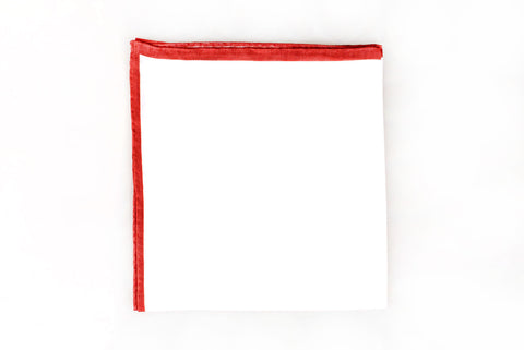 Sozzi Pocket Square - Linen White & Red