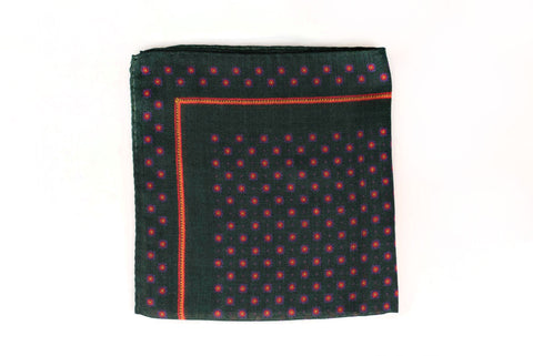 Sozzi Pocket Square - Wool & Cashmere Floral Forest