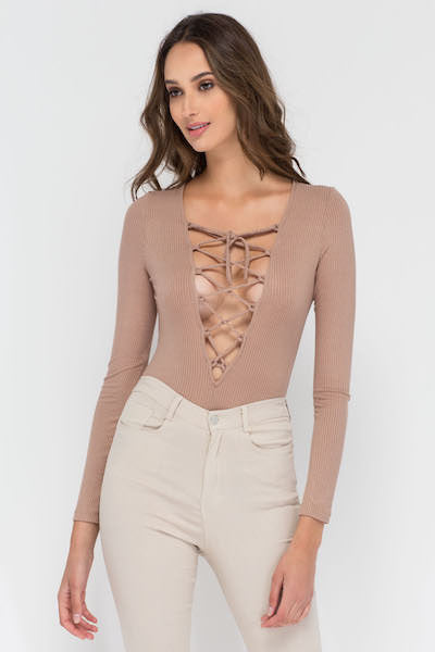 LACE ME-UP BODYSUIT IN MOCHA - voguish girl