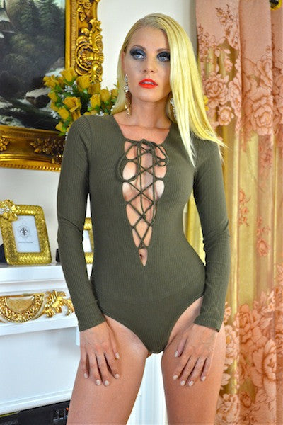 LACE ME-UP BODYSUIT IN OLIVE - voguish girl