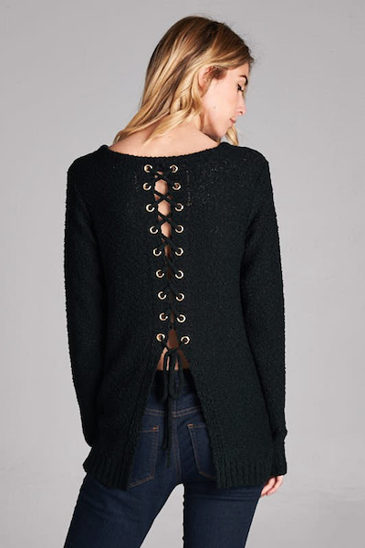 CATHY LACE UP SWEATER IN BLACK - voguish girl