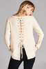 CATHY LACE UP SWEATER IN IVORY - voguish girl