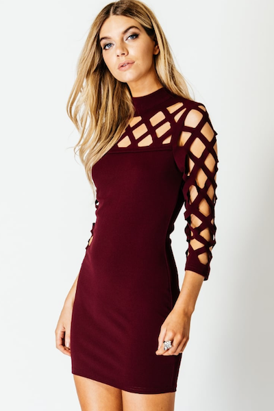 """ENVIOUS"" DRESS IN WINE - voguish girl"
