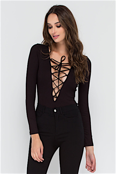 LACE ME-UP BODYSUIT IN BLACK - voguish girl