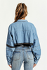 Distressed Denim Cropped Jacket - voguish girl