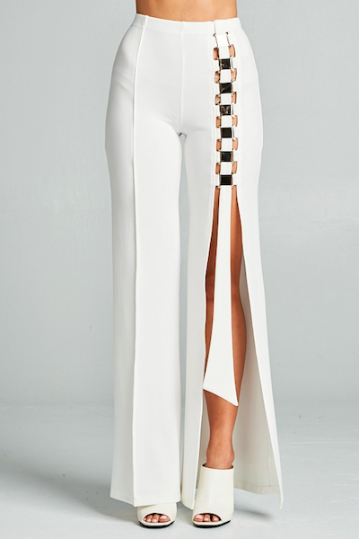 """ONE WAY"" SIDE SPLIT TROUSER IN WHITE - voguish girl"