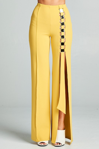 """ONE WAY"" SIDE SPLIT TROUSER IN MUSTARD YELLOW - voguish girl"