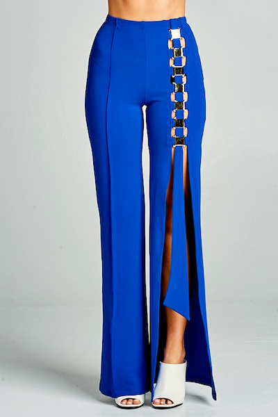 """ONE WAY"" SIDE SPLIT TROUSER IN BLUE - voguish girl"