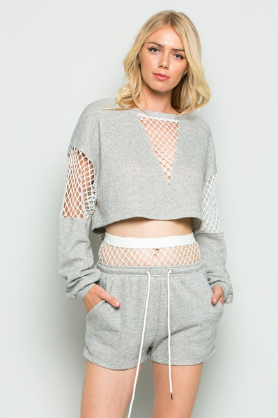 """CASUAL CHIC"" FISHNET SET IN HEATHER GREY"