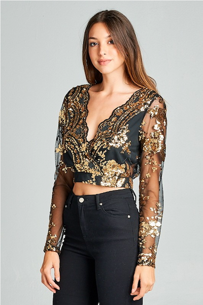 """NADINE"" EMBELLISHED CROP TOP IN BLACK & GOLD"