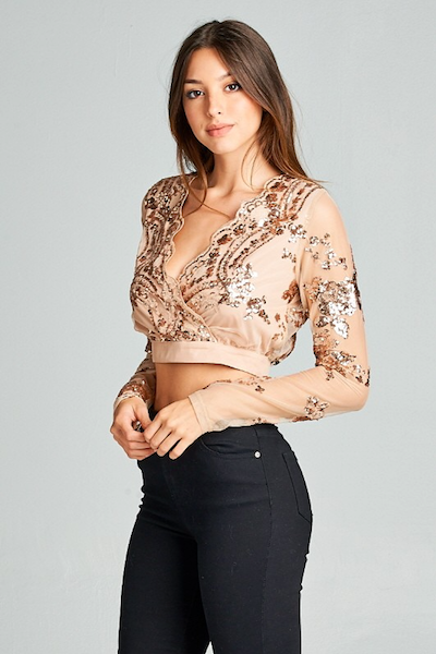 """NADINE"" EMBELLISHED CROP TOP IN ROSE GOLD"
