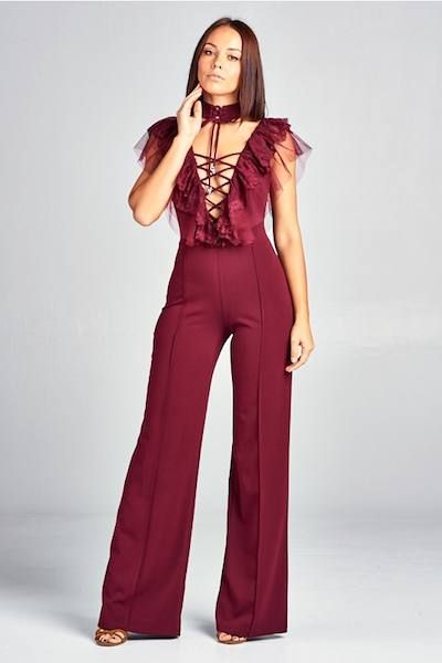 """ALICE"" RUFFLED DETAILED JUMPSUIT IN BURGUNDY"