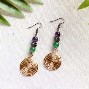 Amethyst Jade Swirl Earrings