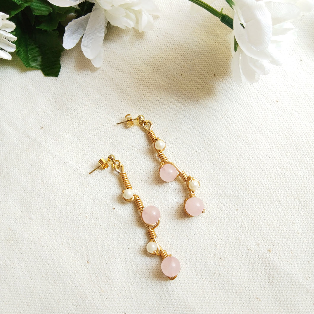Rose Quartz Vine Drop Earrings