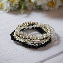 Load image into Gallery viewer, Black and Gold Bracelet Stack