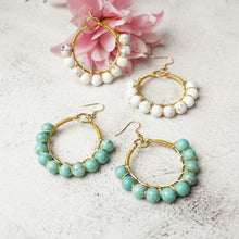 Load image into Gallery viewer, Festive Semi Precious Hoops (Available in other colors)