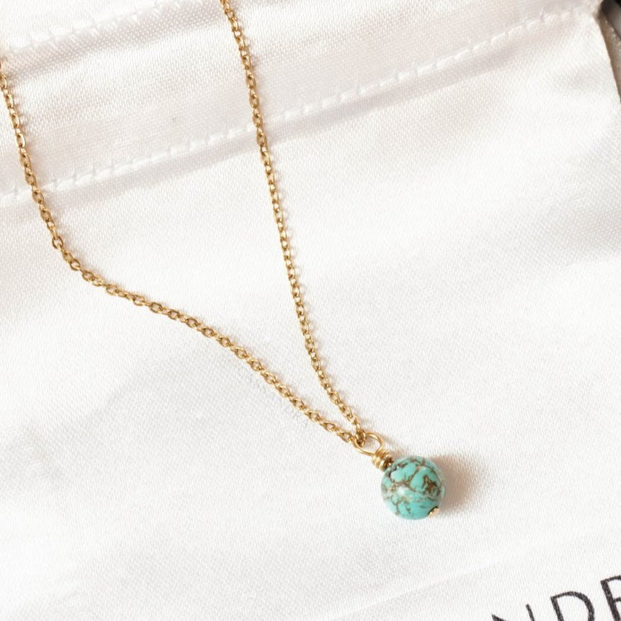 Dainty Stone Necklace - Turquoise