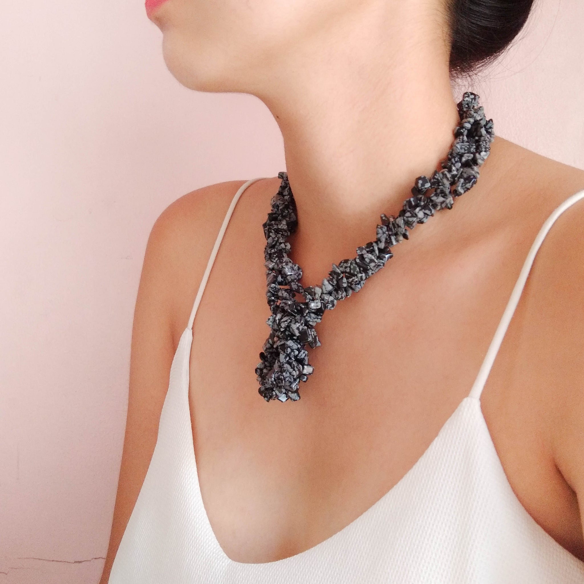 Stone Chip Chunk Necklace