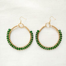 Load image into Gallery viewer, Festive Emerald Hoops
