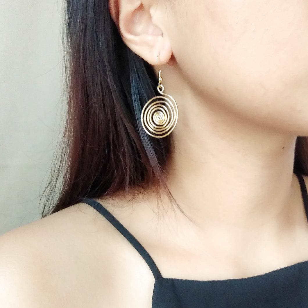 Wire Swirl Drop Earrings