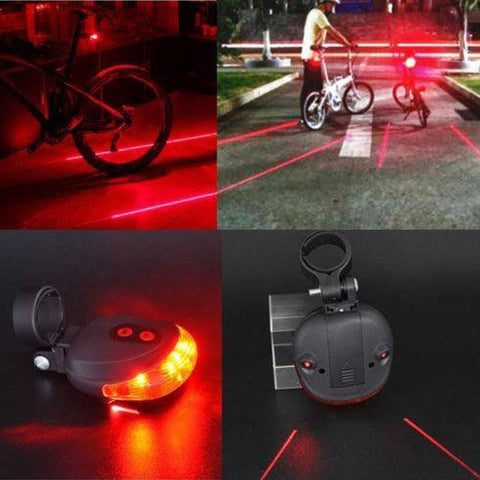 5 LED 2 Laser Tail Warning Bicycle Rear Lamps