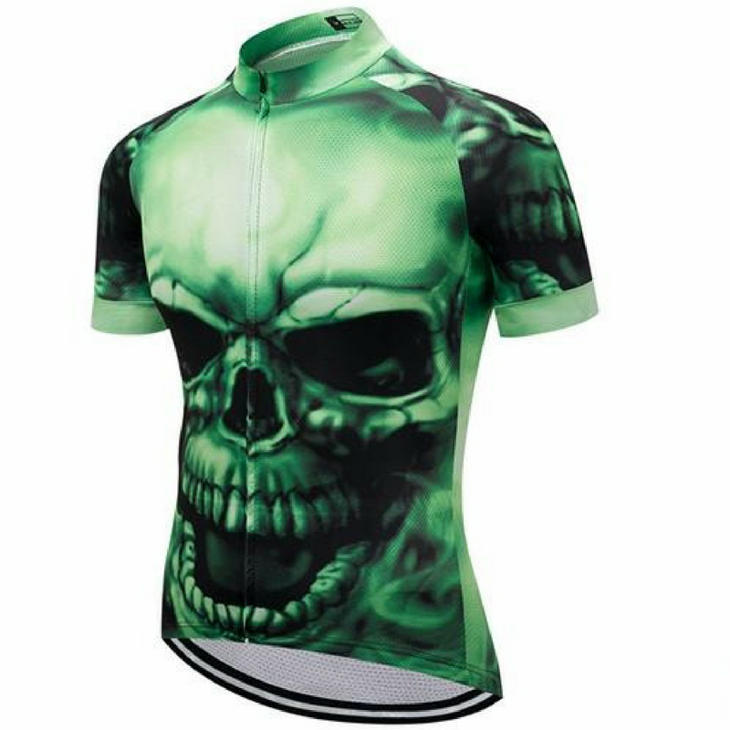 Green Scary Skull Cycling Jersey