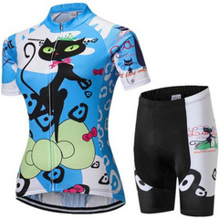 Women's Blue Cat Competitor Cycling Wear Set
