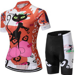 Women's Orange Cat Competitor Cycling Wear Set